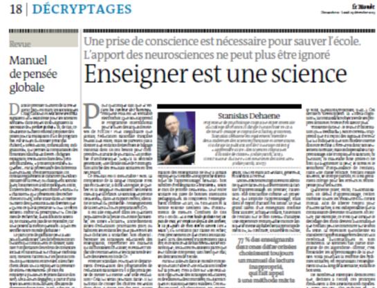 le monde  u2013 enseigner est une science